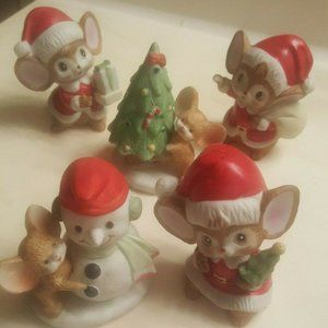 Set of 5 Mouse Snowman Holiday Figurines